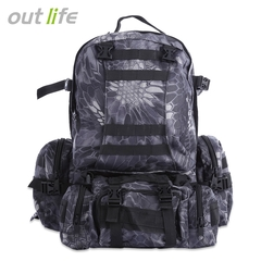Men's Camping Bag Oxford Cloth Outdoor Backpack Army Camouflage Hiking Bag Hiking Bag black one size
