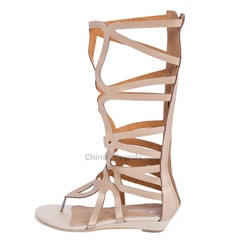 Sexy Hollow Out Pure Color Zipper Design Knee High Women Flip-flop Gladiator Sandals golden 35
