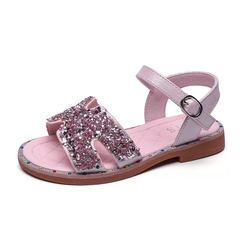 Girls summer diamond sandals open toe beach shoes fashion casual shoes magic sticker pink 26