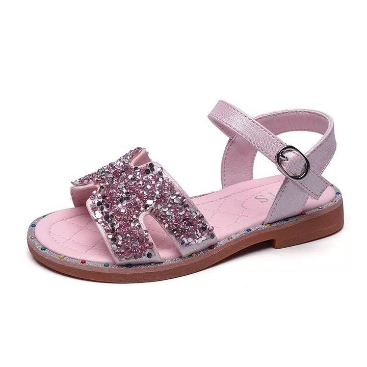 Girls summer diamond sandals open toe beach shoes fashion casual shoes magic sticker pink 26