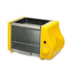 Household multifunctional two-in-one breakfast machine  Mini Fried Oven for Baked Egg Tart Bread yellow