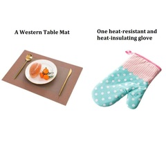 One heat-resistant and heat-insulating glove  and  A Western Table Mat as picture 1 glove+1 table mat
