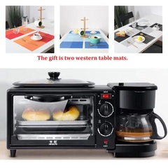 Three in one coffee maker electric oven Home breakfast machine toaster grill pan bread toaster black-giftB