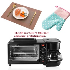 Three in one coffee maker electric oven Home breakfast machine toaster grill pan bread toaster black-giftA