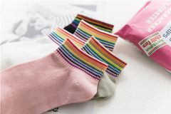 Rainbow Stripe Cotton women's socks white lady size