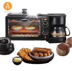 3 in 1  Home Breakfast machine  Coffee machine  Electric Oven Toasted bread Coffee maker Baker black