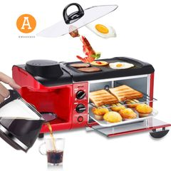 Multifunctional Electric Oven+ Coffee Machine+ Pan Fried  3 in 1  Breakfast Machine Toaster Cookware Red