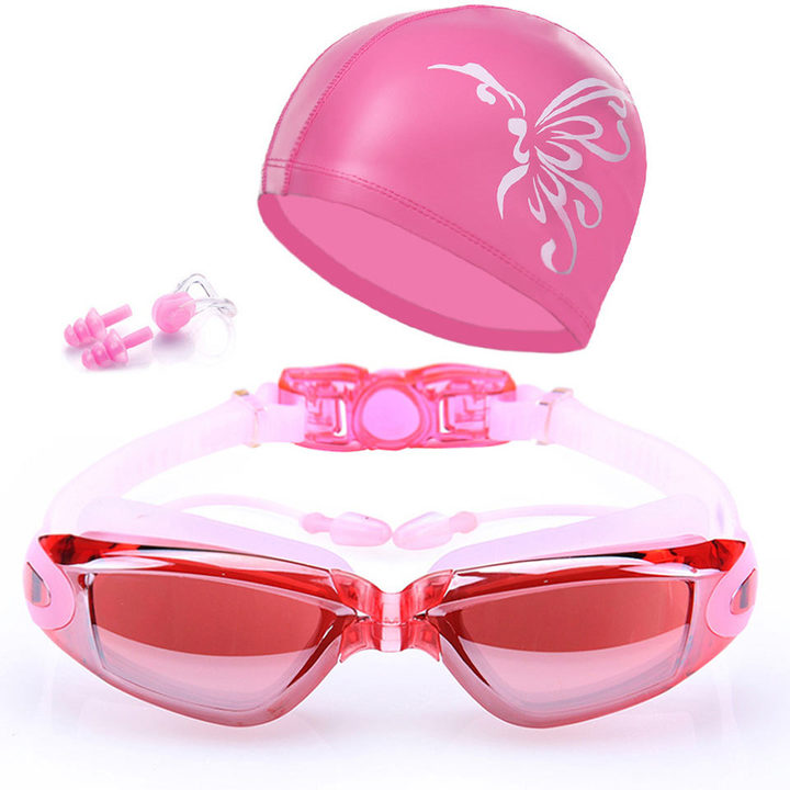 Swimming goggles hd waterproof fogproof men and women with earplugs goggles delivery cap Plating pink + cap The picture