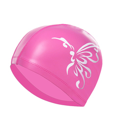 Swimming cap PU male and female long hair waterproof sun protection increased fashion ear protection Deep powder butterfly the picture
