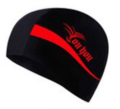 Swimming cap female male adult swimming cap long hair ear protection professional swimming cap 7622 Red the picture
