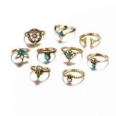 9 Piets/Set of New Valentine's Day Gifts Women's Jewelry Alloy Crystal Wedding Ring gold Set of 9/piece