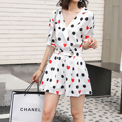 Couplet Shorts Female Summer Loose and Slim Students'Broad-legged and High-waist Chiffon Dresses s picture color