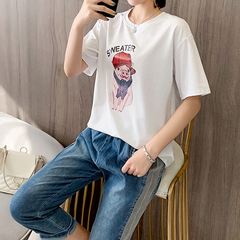 Short Summer Fashion Fashion Comfortable Coloured Two-piece Leisure and Fresh College Suit white M