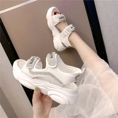 Summer sponge cake for women with thick Velcro soles and open-toe rhinestones white 35