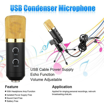 MK - F100TL USB Condenser Sound Recording Microphone with Stand Golden One size none