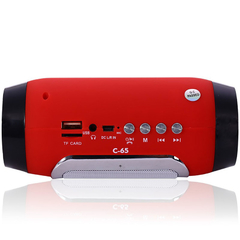 C-65 Bluetooth 3.0 Speaker with FM Mode Support TF Card Red One Size