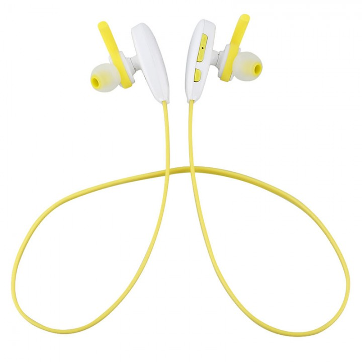 Bluetooth Headset wireless Voice Prompt BT hands-free Sports Earphone White +Yellow​