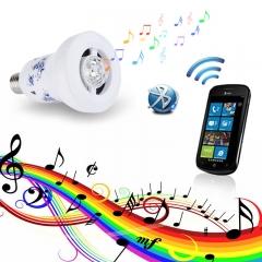 E27 Magic Flower Porcelain Wireless Bluetooth Bulb Stereo Speaker  for  Smart Phone PC Laptop White One size