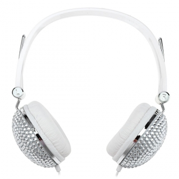Artificial Crystal Rhinestone Bling Earphones with Anti-noise Music Function White