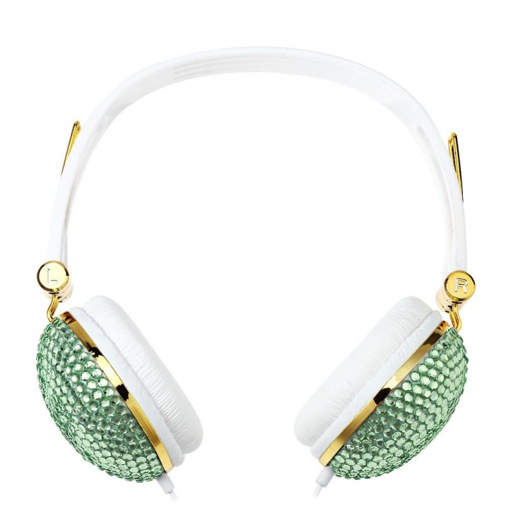 Artificial Crystal Rhinestone Bling Earphones with Anti-noise Music Function Green and White