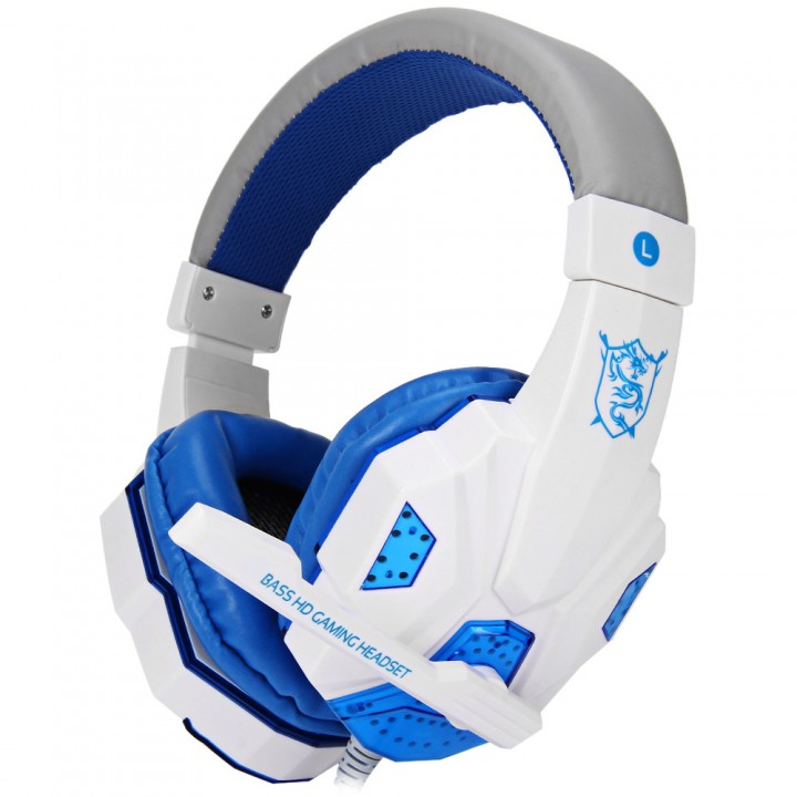 PLEXTONE PC780 Over-ear Gaming Headsets Earphones Headphones with Mic Blue and White