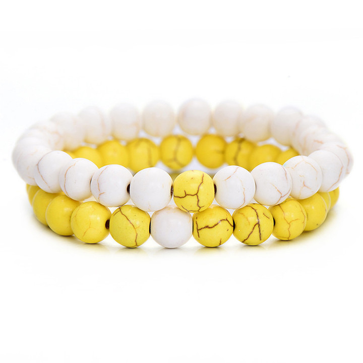 2Pcs/Set Couples Distance Bracelet Classic Natural Stone White and Black Yin Yang Beaded Bracelets white yellow one size