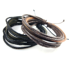 Hot-selling multi-layer cowhide Bracelet hand-woven leisure men's and women's Bracelets BLACK one size