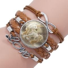 JOEY'S 2019 Fashion Unicorn Time Gemstone Bracelet Multilayer Glass Bracelet Gift For Women and Kids 2 one size
