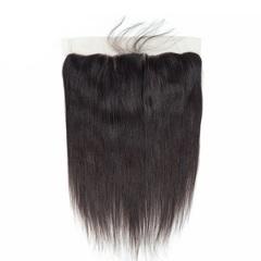 13x4 Lace Frontal Closure Brazilian Virgin Hair Straight Human Hair Ear to Ear Closures natural black 8inches