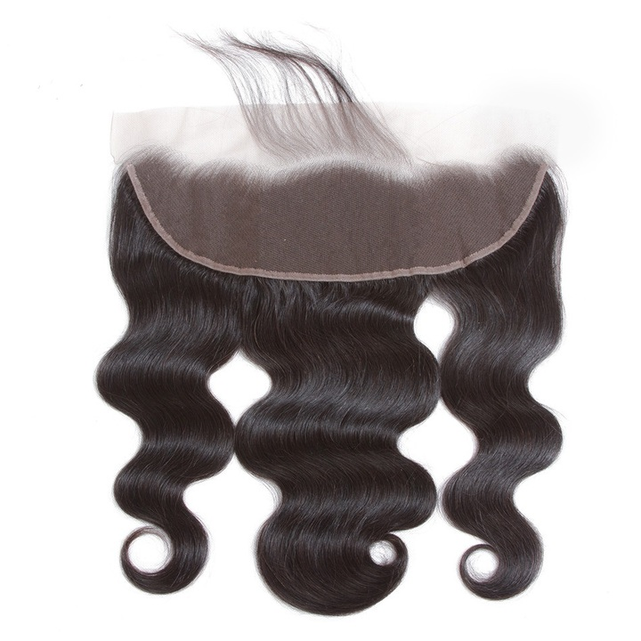 "13x4"" Lace Frontal Closure Brazilian Virgin Human Hair Body Wave 13x4 Ear to Ear Closures For Wigs natural black 8inches"