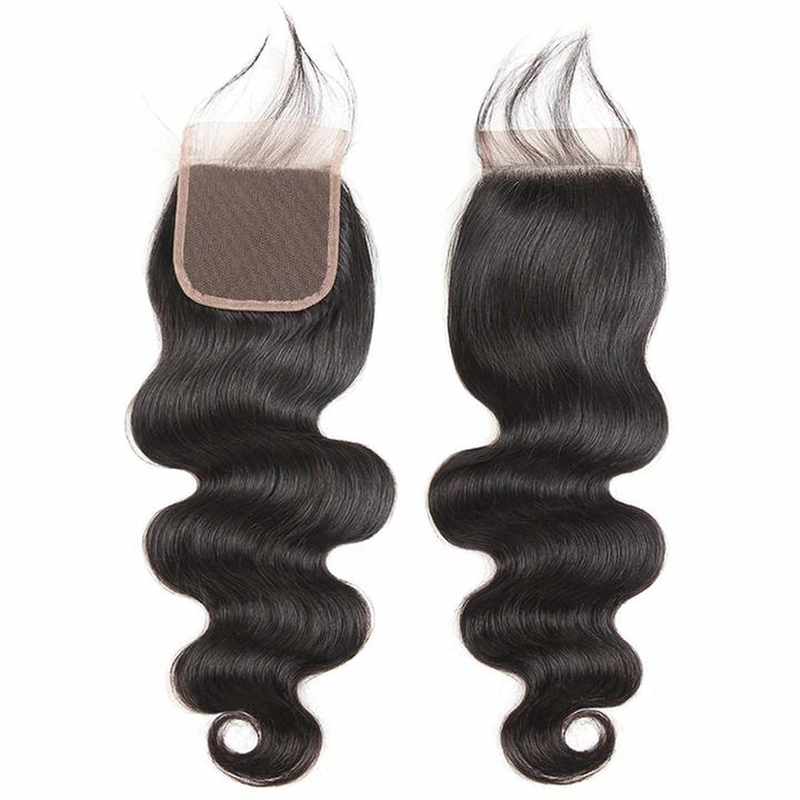 """4x4"""" Lace Closure Brazilian Virgin Hair 4X4"""" Lace Closure Body Wave Human Hair Closures For Wigs natural black 8inches"""