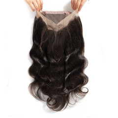 360 Lace Frontal Closure Body Wave Brazilian Body Wave Lace Closure Human Hair Exensions natural black 10inches