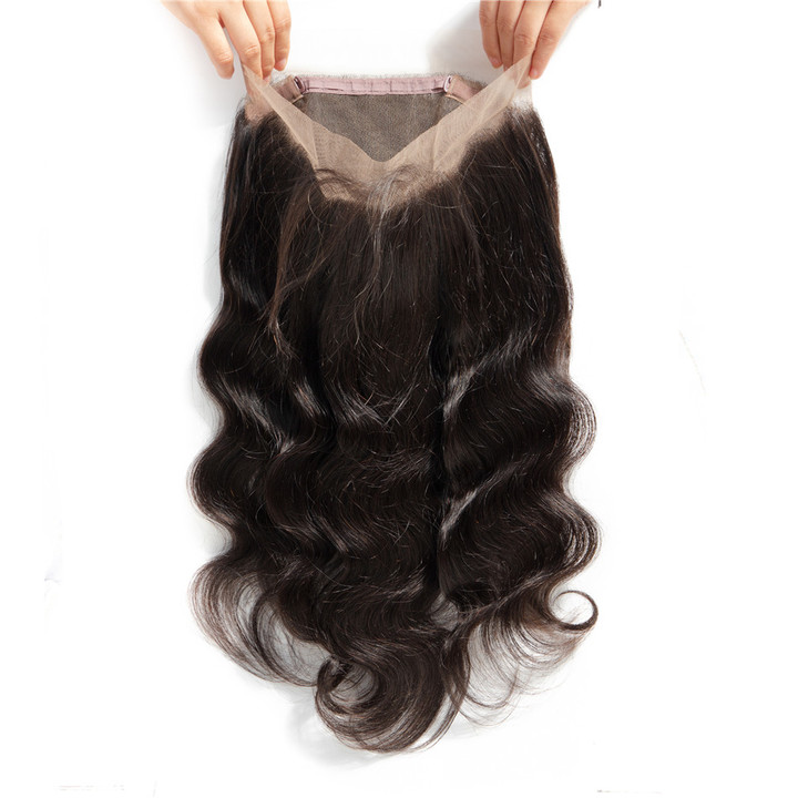360 Lace Frontal Closure Body Wave Brazilian Body Wave Lace Closure Human Hair Exensions natural black 8inches