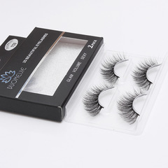 False Eyelashes 2 Pairs Handmade 3D Black Long Thick Natural Fake Eye Lashes Black Black