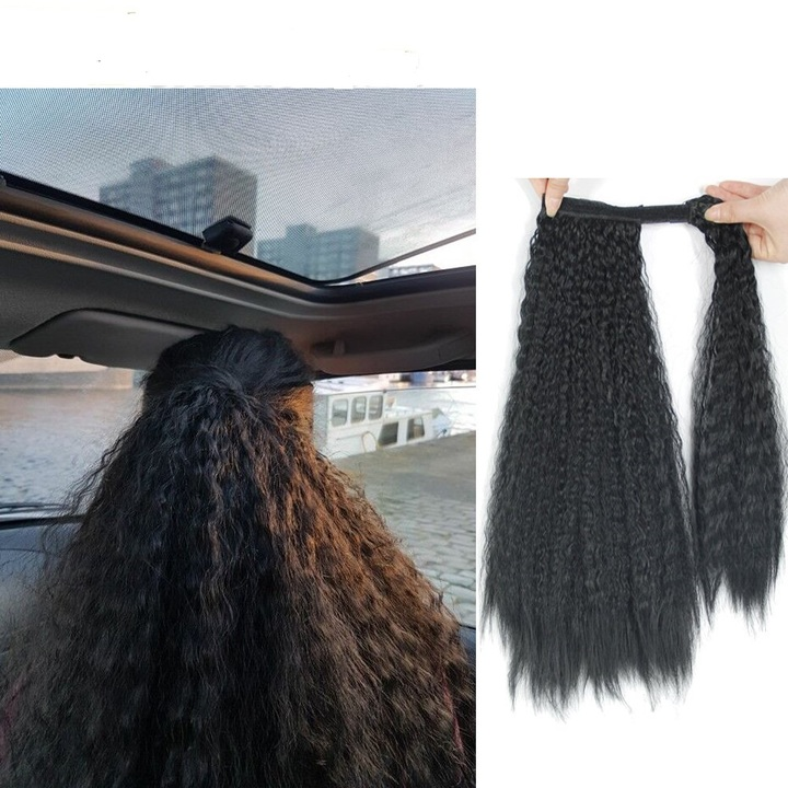 Kinky Curly Hair Ponytail 18inches Afro Kinky Curly Hair Weaves Ponytail Synthetic Hair Black 18inches