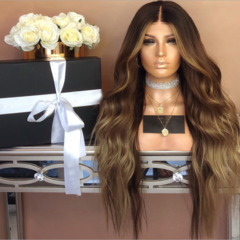 Long Body Wave Hair Wig Synthetic 28inches Ombre Hairs Wig Ombre Hair Wigs Wavy Hair Wigs as shown 28inches
