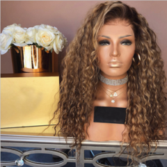 Kinky Curly Hair Wigs Synthetic Deep Curly Ombre Hairs Wig Synthetic Hair Fiber Wigs as shown 28inches