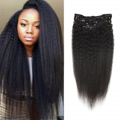 Afro Kinky Straight Clip In Hair Extensions Human Hair Yaki Clip Ins Human Hair 70g natural black 8inches