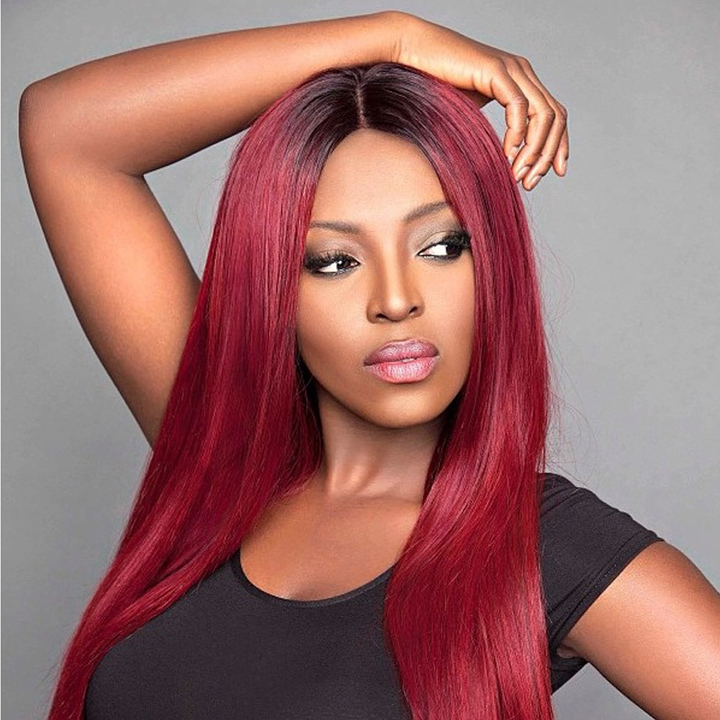 Long Ombre Wigs 1B/Burgundy Hair Synthetic Hair Wigs 1B/99J Red Hair Wigs Straight Hairs Wig 1B/Burgundy 26inches
