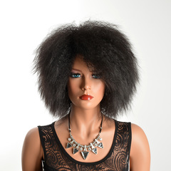 Kinky Curly Short Afro Wigs Kinky Straight 6inch Yaki Hairs Black Synthetic Hair Wig African Wigs black average