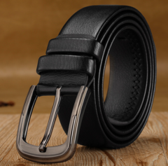 Hot Selling Pin Buckle Leather men's belt New Fashion belts for business and leisure black 3.5cm*120cm