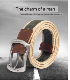 New Product Fashionable Multi-style Canvas Belt Leisure Belts dark khaki stripe 3.8cm*115cm