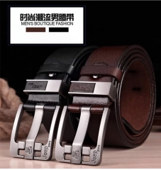High-quality Well-designed Jeep Brand Genuine Cowhide Leather Belt Fashion Men's Belt black 3.8cm*110cm