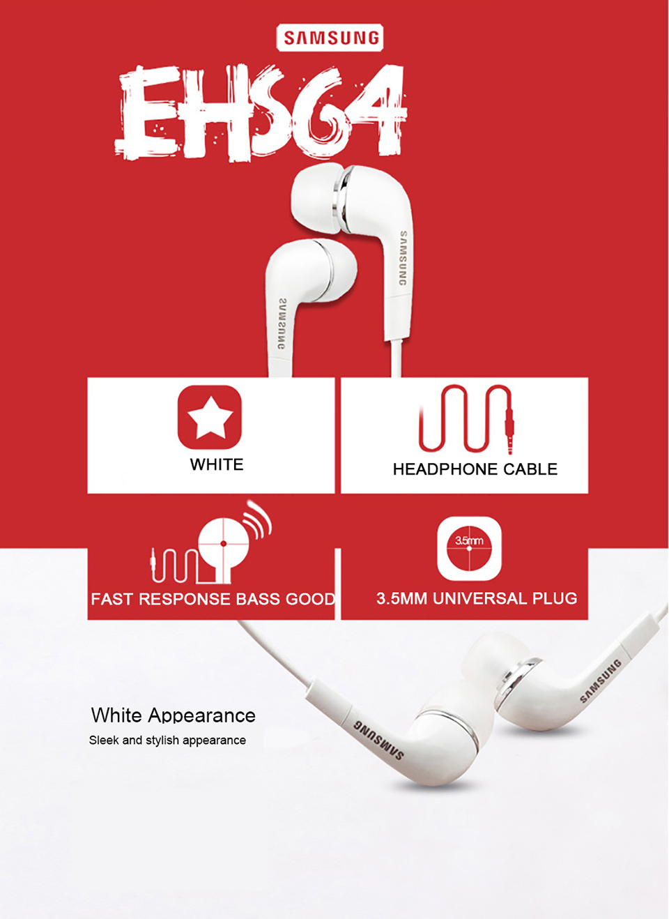Samsung Earphones EHS64 Headsets With Built-in Microphone 3.5mm In-Ear Wired Earphone For Smartphone white 4