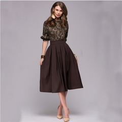 BLDS 2019 Promotion Summer Woman Dress Pleated Print Dress Large Swing Round Neck Waist s Brown