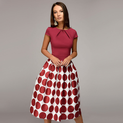BLDS 2019 Promotion Summer and Autumn New Big Wave Point Stitching Party Dress Plus Size Dresses xl red