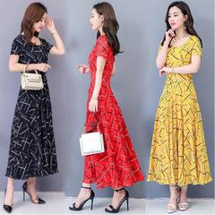 BLDS 2019 Promotional Summer Short Sleeve Dress Woman Dress High Waist Floral Dress xxxl red