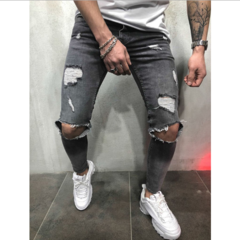 New arrival Men Jeans Youth Fashion Hole in the knee Pencil pants Trousers gray 4xl
