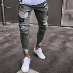 Hole Jean Men Youth Fashion Skinny Stretch Denim Pencil Pants gray l