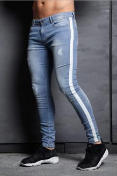 2019 New arrival Men Jeans Fashion Hole Jeans Pencil pants Trousers light blue xxl